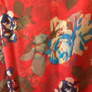 Unknown Accessories - Bright Orange and Blue Floral Scarf / Wrap